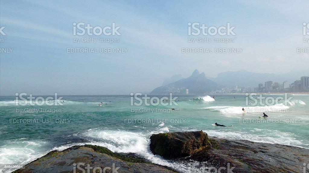 Surfers at the Arpoador beach in Rio de Janeiro stock photo