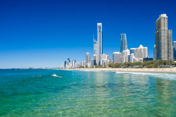 Surfers catching waves in  Surfers Paradise on the Gold Coast stock photo