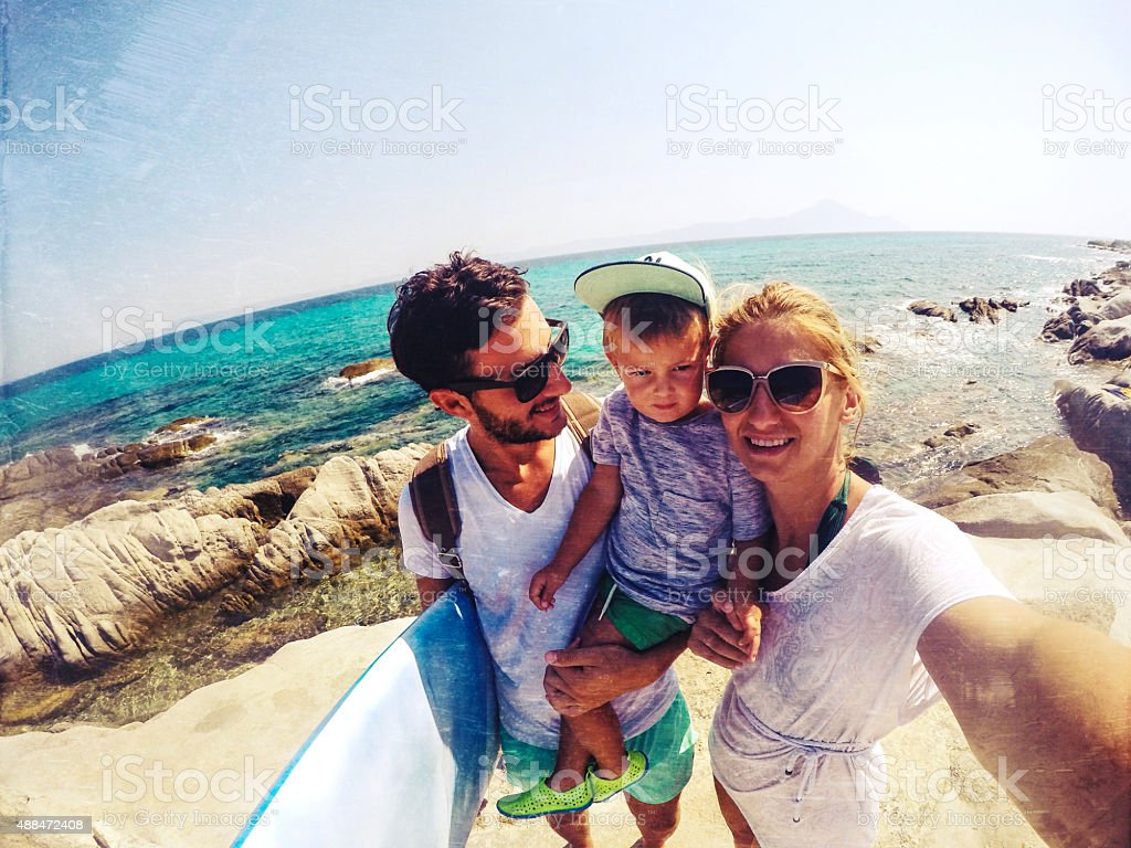 Surfer's family stock photo