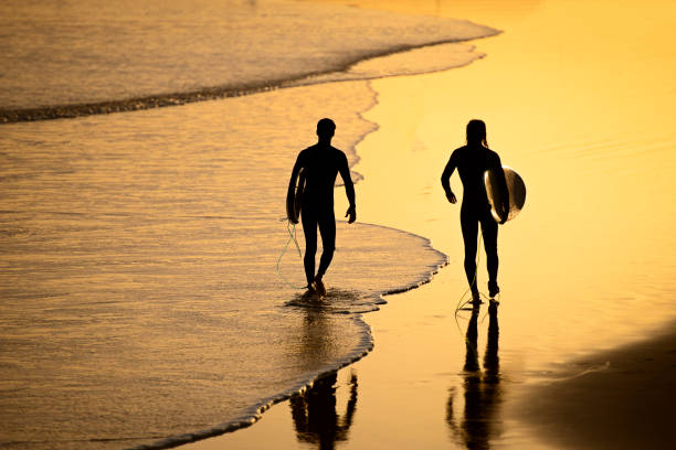surfers goes to ride a board on the Moroccan coast of the Atlantic Ocean at sunset stock photo
