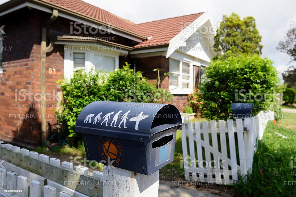 Surfer's house at Bondi Beach with postbox stock photo