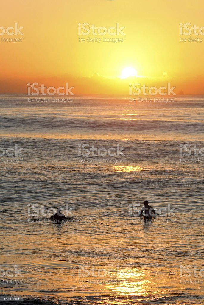 Surfers in Durban, South Africa royalty-free stock photo