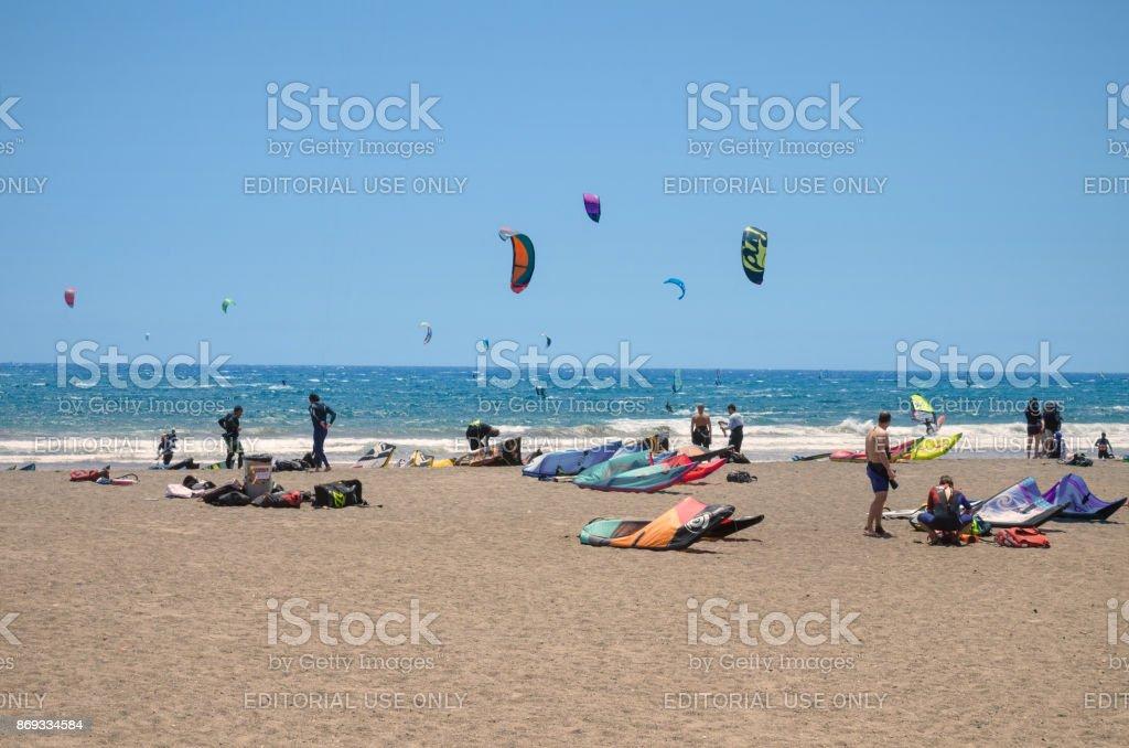 Surfers in El Medano beach, Tenerife, Canary islands, Spain. stock photo