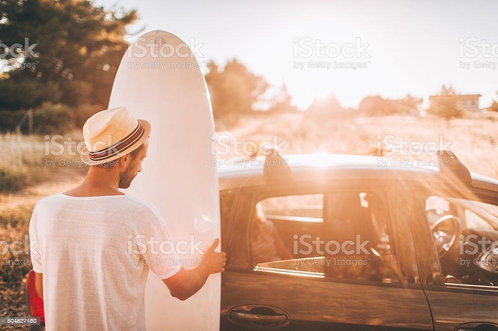 Surfer's lifestyle stock photo
