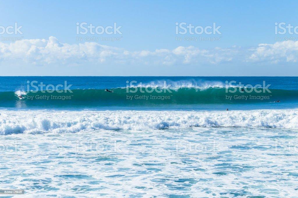 Surfers Ocean Waves stock photo