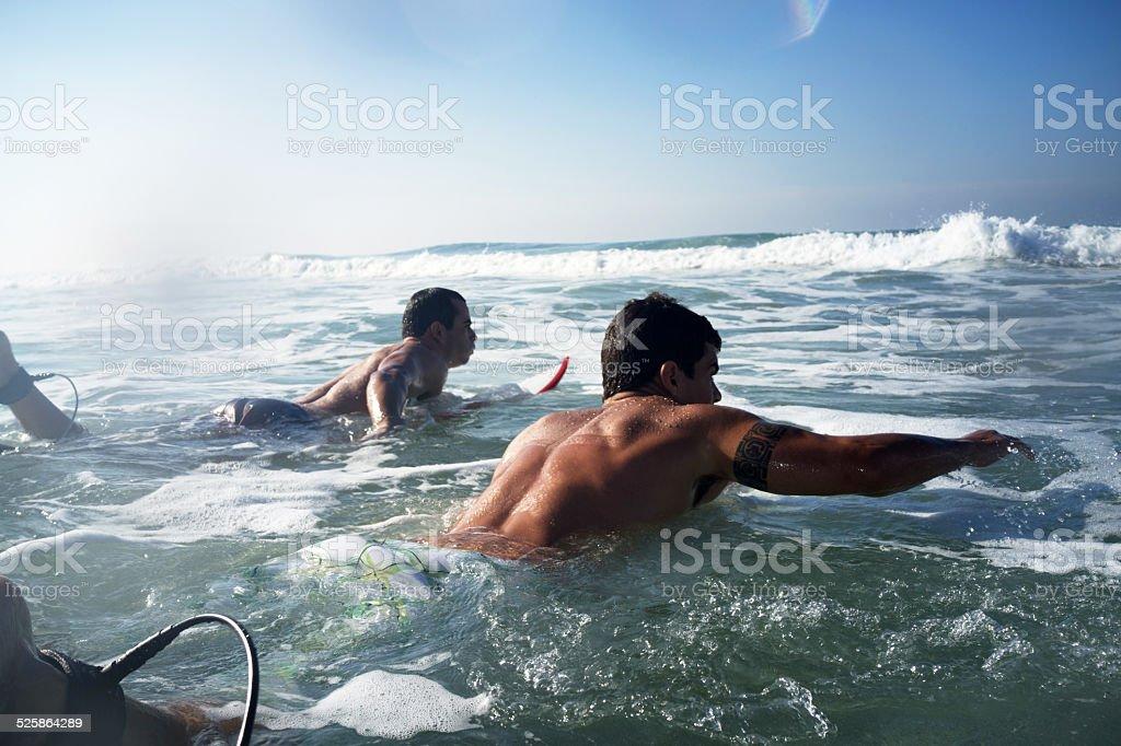 Surfers paddling. stock photo