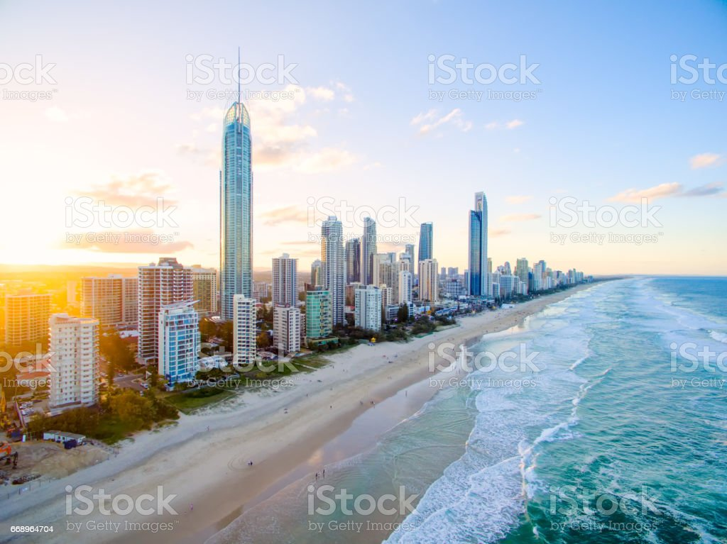Surfers Paradise aerial image at sunset stock photo