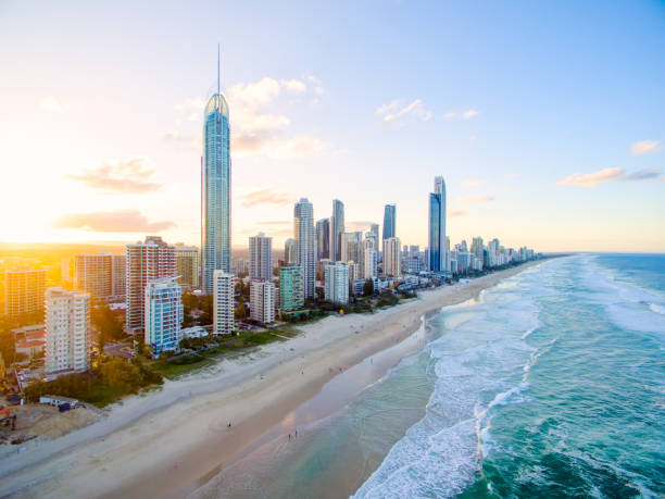 Surfers Paradise aerial image at sunset - foto stock