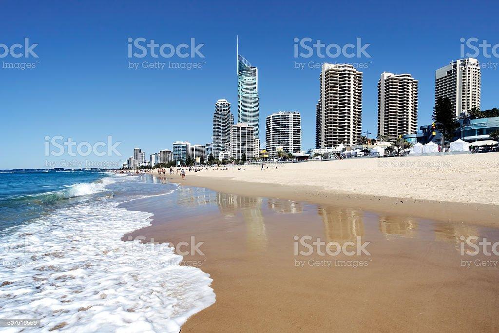Surfers Paradise beach, Gold Coast, Australia stock photo