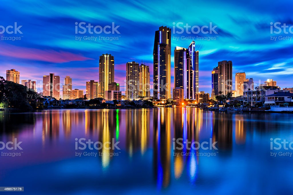 QE Surfers paradise City Still Reflect river stock photo