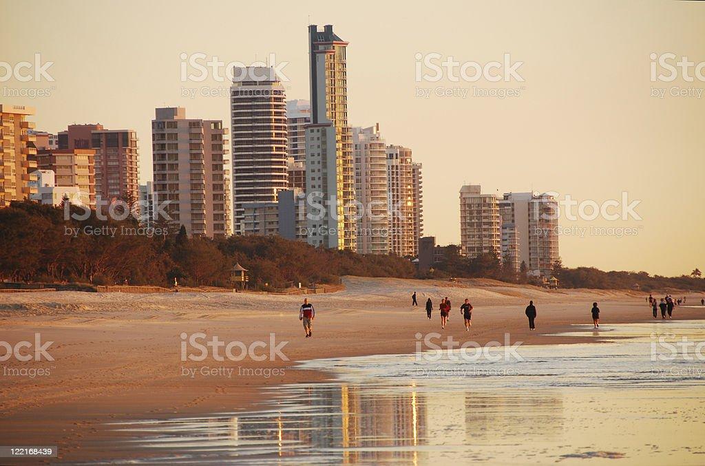 Surfers Paradise coastline at dawn, Queensland, Australia stock photo