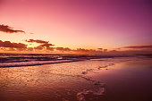 Purple and Orange skies over Surfers Paradise on Queensland's Gold Coast in Queensland Australia