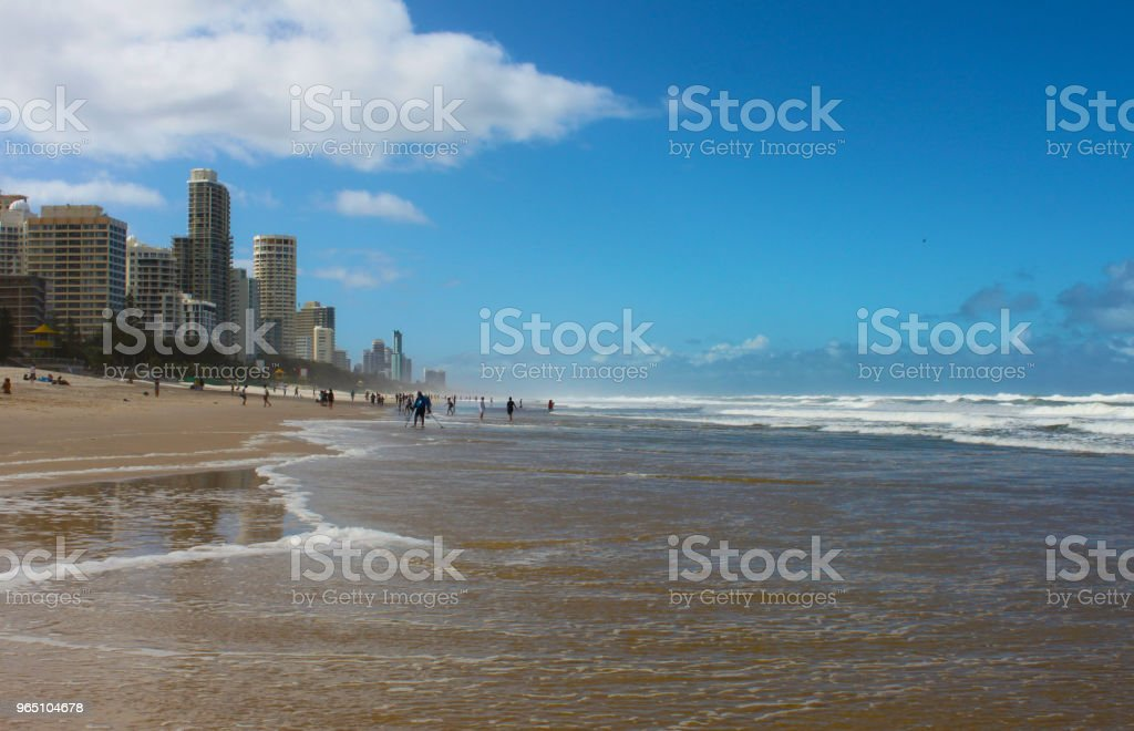 Surfers Paradise or the Gold Coast, Queensland Australia, People on the beach and in the ocean by the city zbiór zdjęć royalty-free
