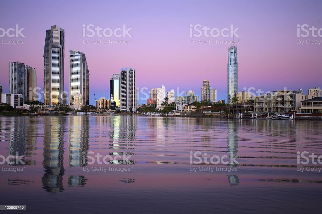 Surfers Paradise Sunset stock photo