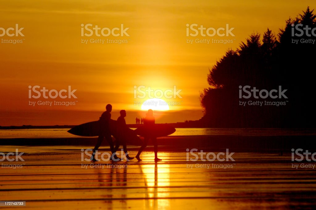Surfers walking on beach at sunset stock photo