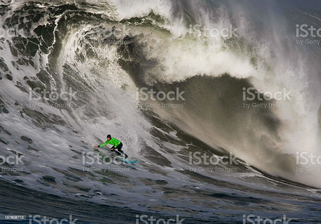 Surfing a Huge Wave stock photo