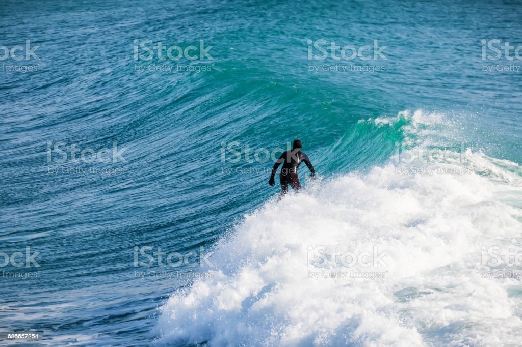 Surfing and beautiful blue wave in ocean. royalty-free stock photo