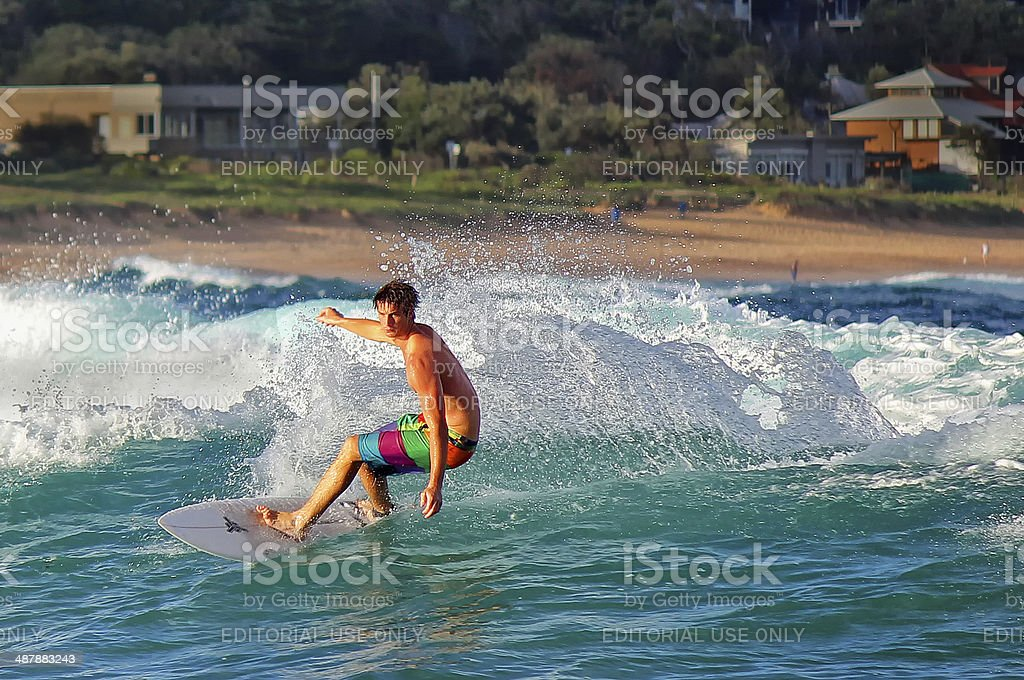 Surfing at Avoca Beach,Australia stock photo