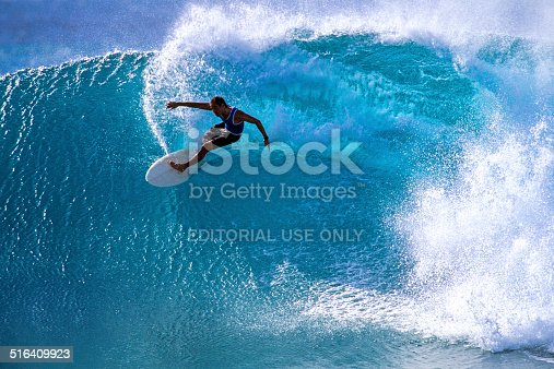 Maui, Hawaii, USA – December 2, 2001: Surfing at Honolua Bay on the north shore of Maui island with Michael Ho (USA), one of the best waves in the state of Hawaii.