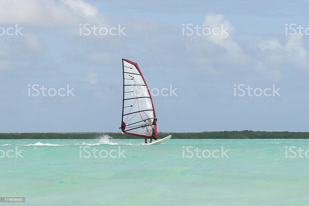 surfing at lac bay, sorobon, bonaire stock photo