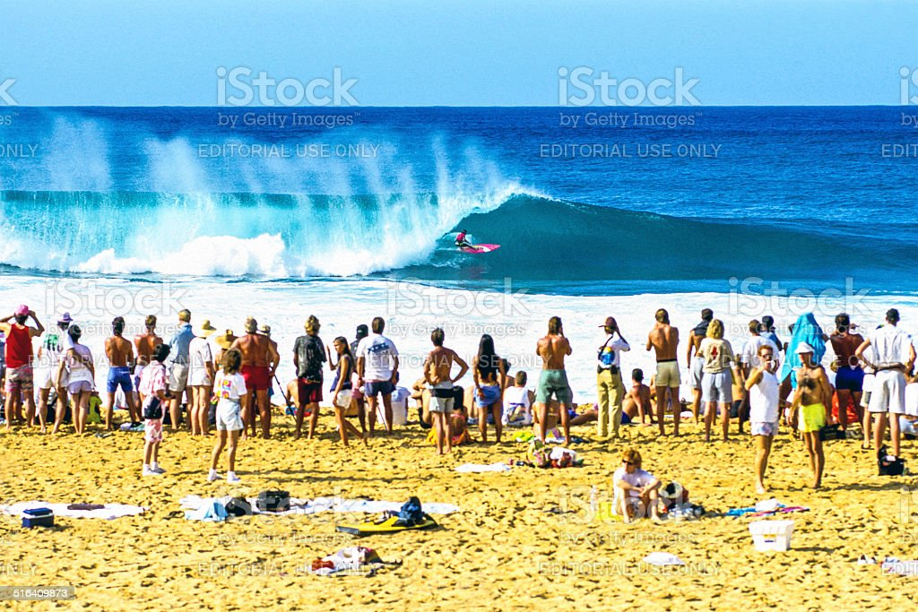 Surfing at Pipeline stock photo