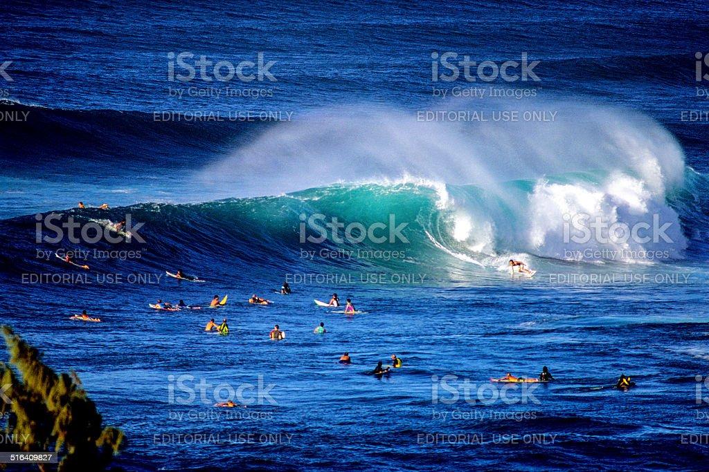 Surfing at Sunset Beach stock photo