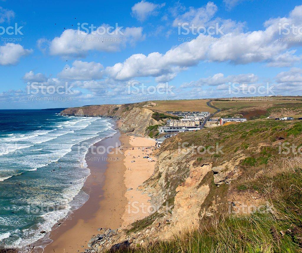 Surfing beach Watergate Bay north Cornwall England UK near Newquay stock photo