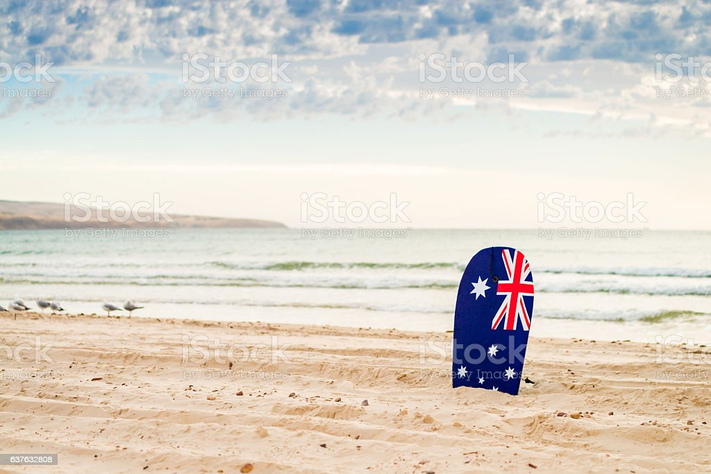 Surfing board with Australian flag stock photo