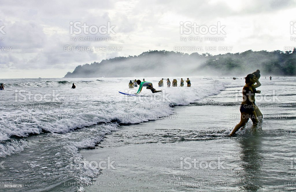 Surfing Central America stock photo