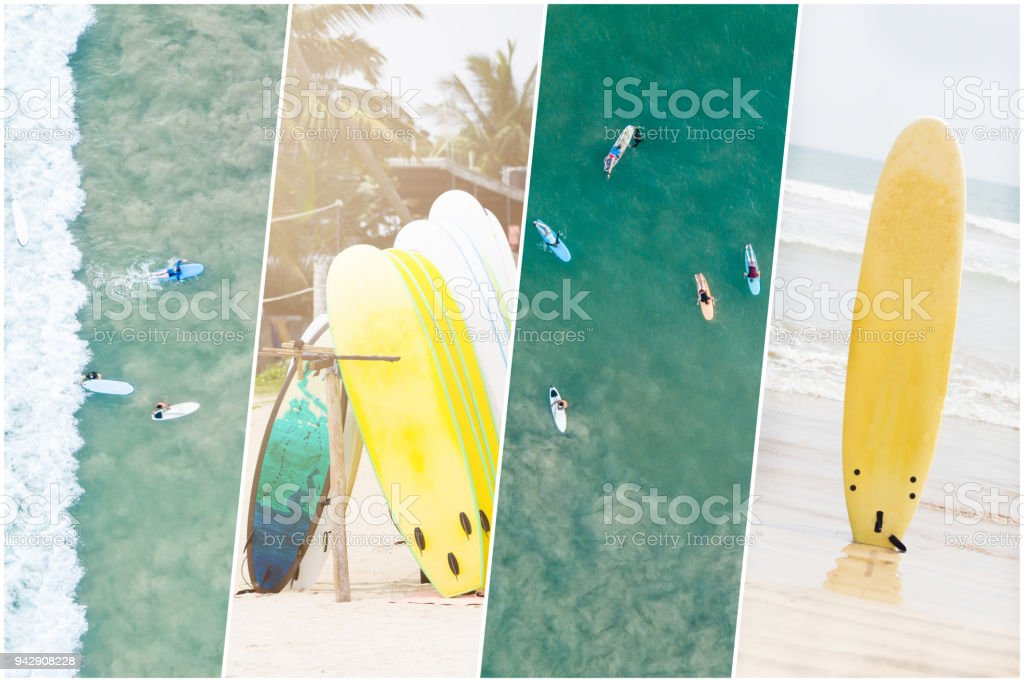 Surfing collage. Collage with extreme sport and travel theme. Active lifestyle stock photo