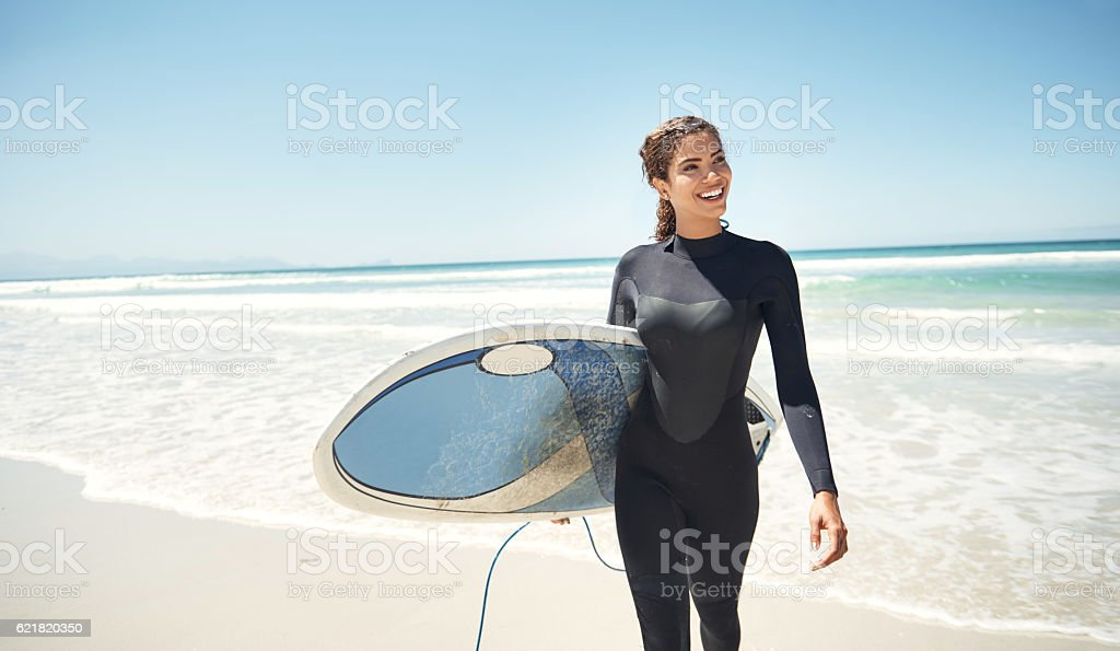 Surfing drains you of all the negative energy stock photo