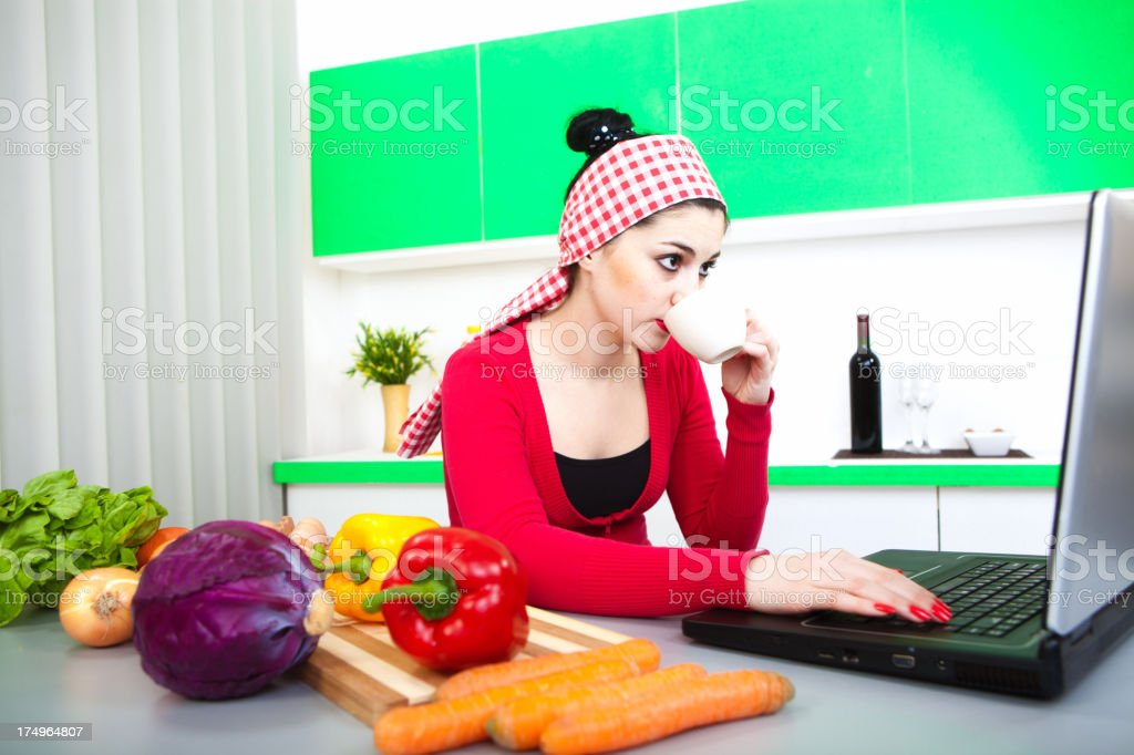 Surfing for recipes royalty-free stock photo