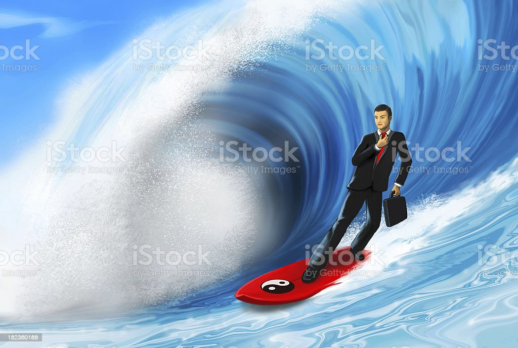 surfing in a business suit royalty-free stock photo