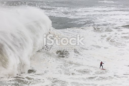Surfing in giant waves of Nazare, Portugal