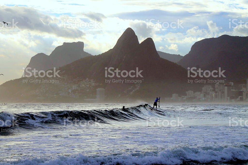 Surfing in Ipanema Beach stock photo