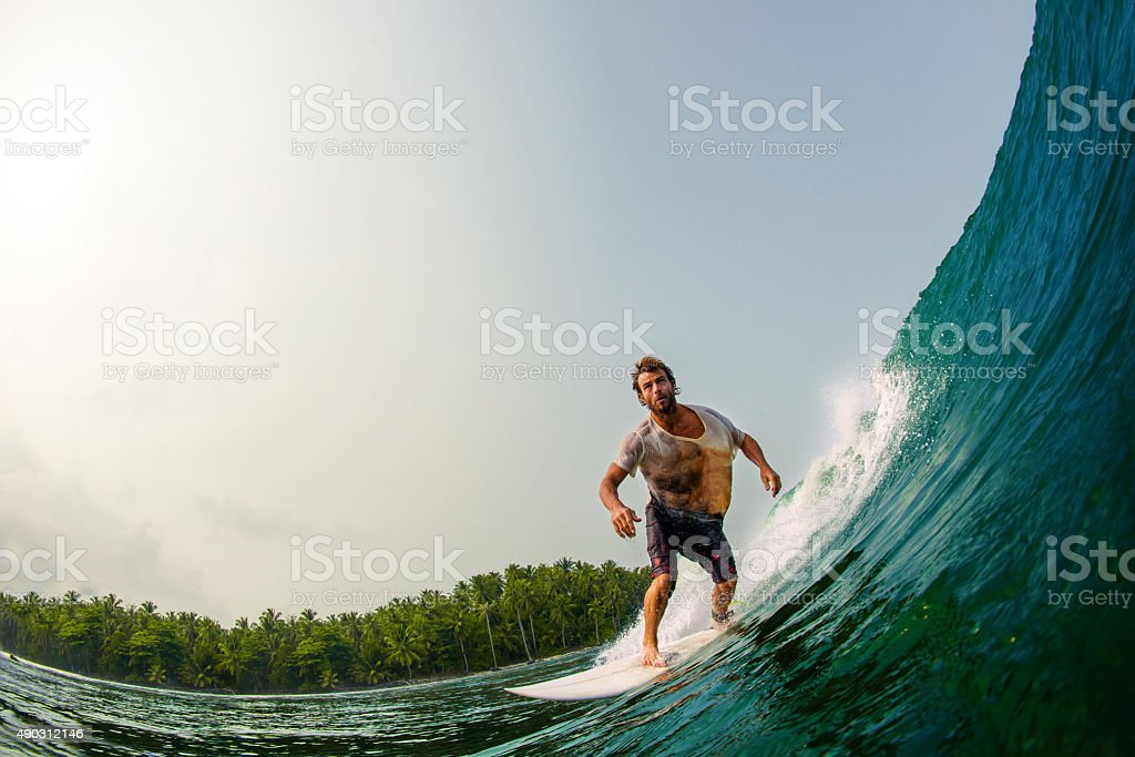 Surfing In Paradise stock photo