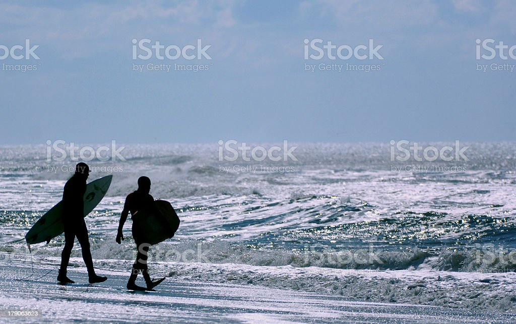 surfing in stormy atlantic stock photo
