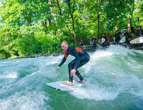 Surfing in the Englischer Garten Munich