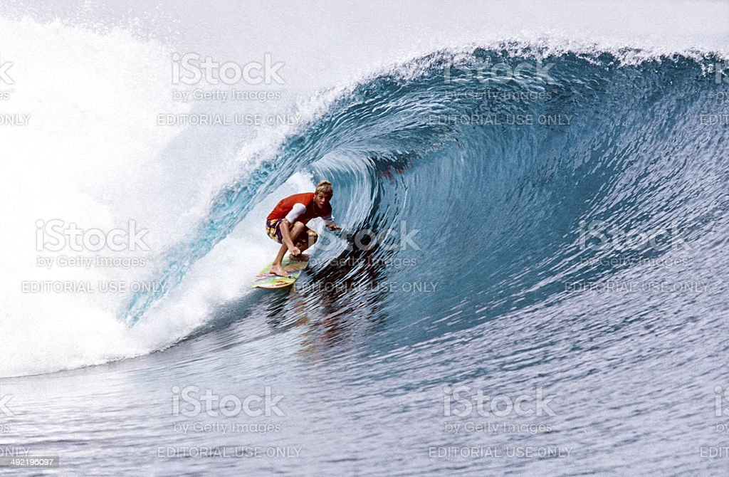 Surfing in the Mentawai Islands. stock photo