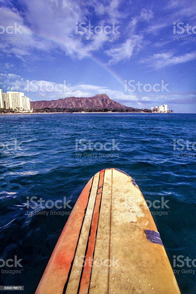 Surfing in Waikiki stock photo