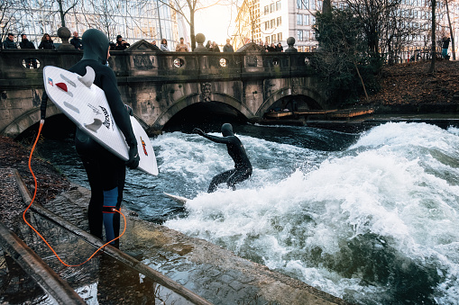 Surfing in winter in Munich city, Germany