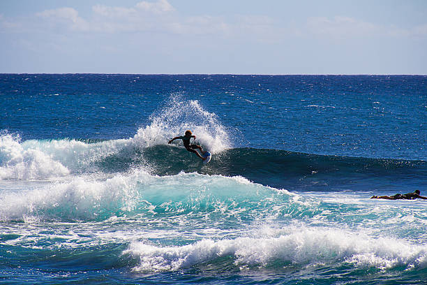 Surfing, Indian Ocean, Reunion Island, France. stock photo