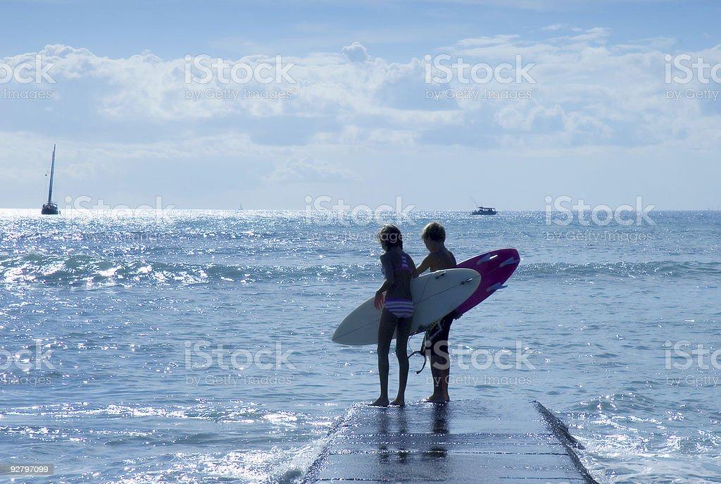 surfing kids stock photo