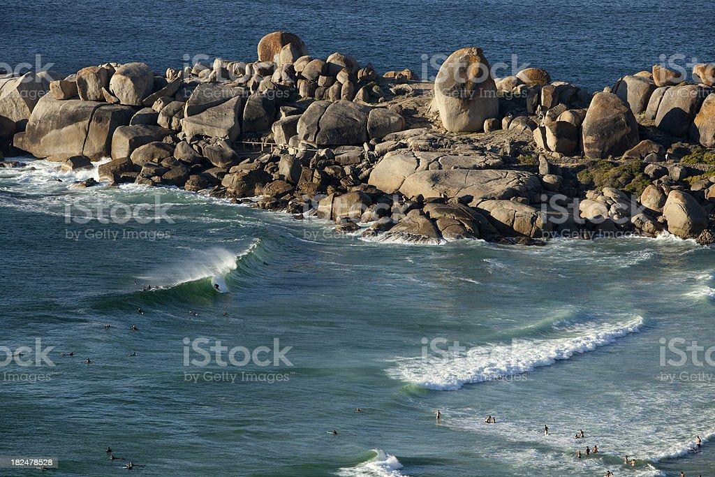 Surfing Llandudno Beach, Cape Town. stock photo