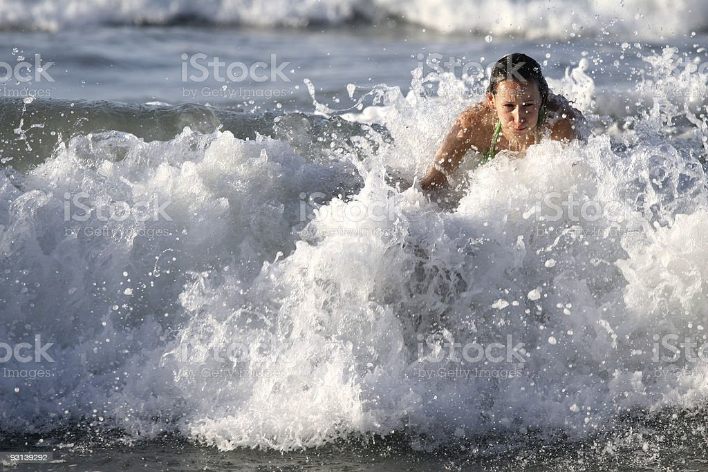 Surfing on the wave royalty-free stock photo