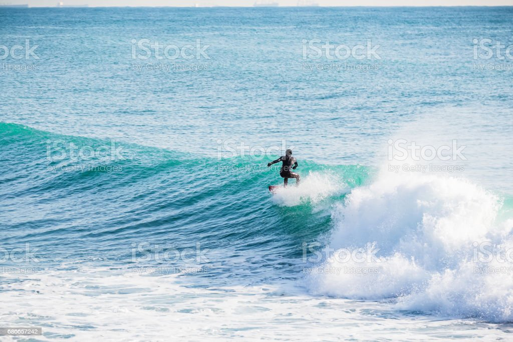 Surfing on turquoise wave in ocean royalty-free stock photo
