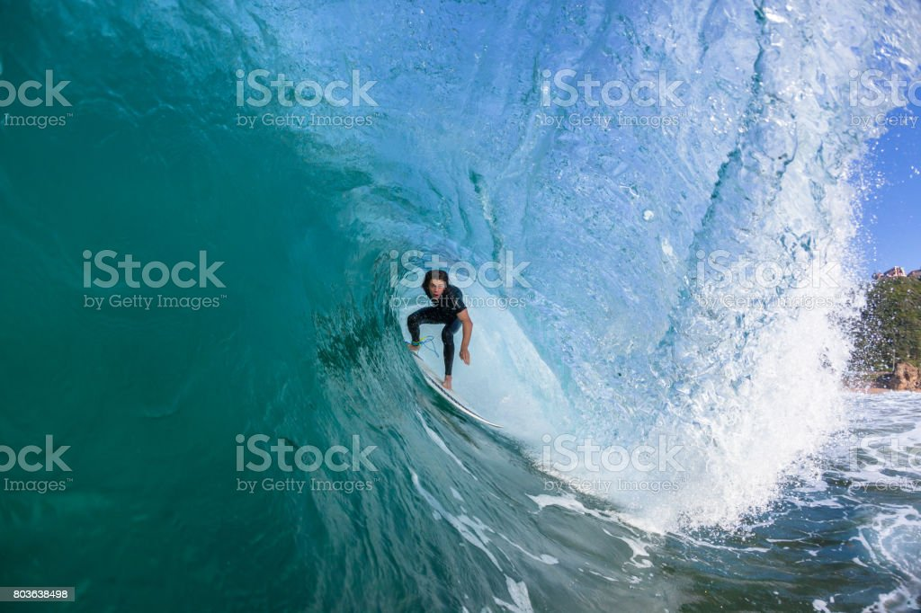Surfing Surfer Tube Ride stock photo