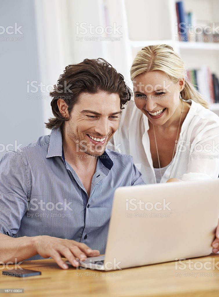 Surfing the net together royalty-free stock photo