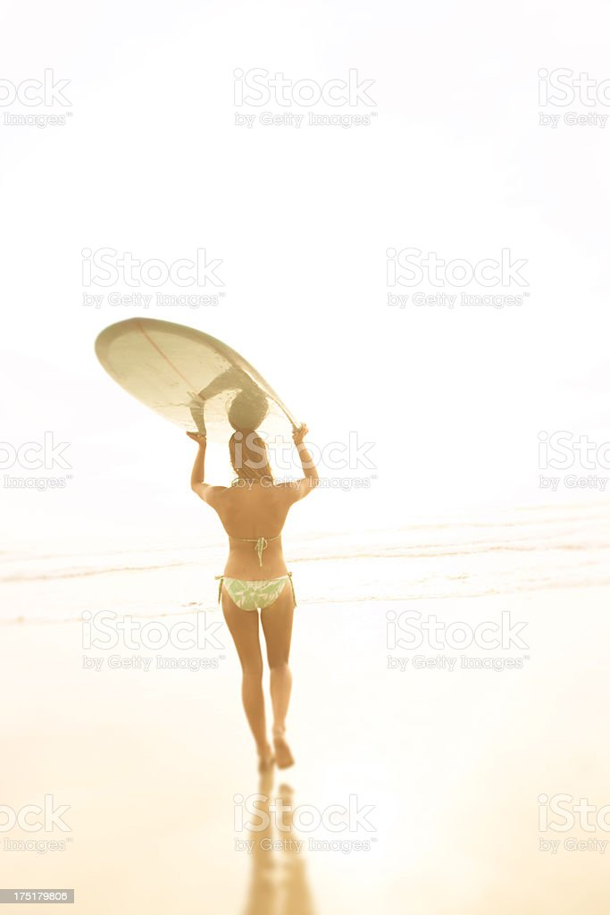 Surfing woman royalty-free stock photo