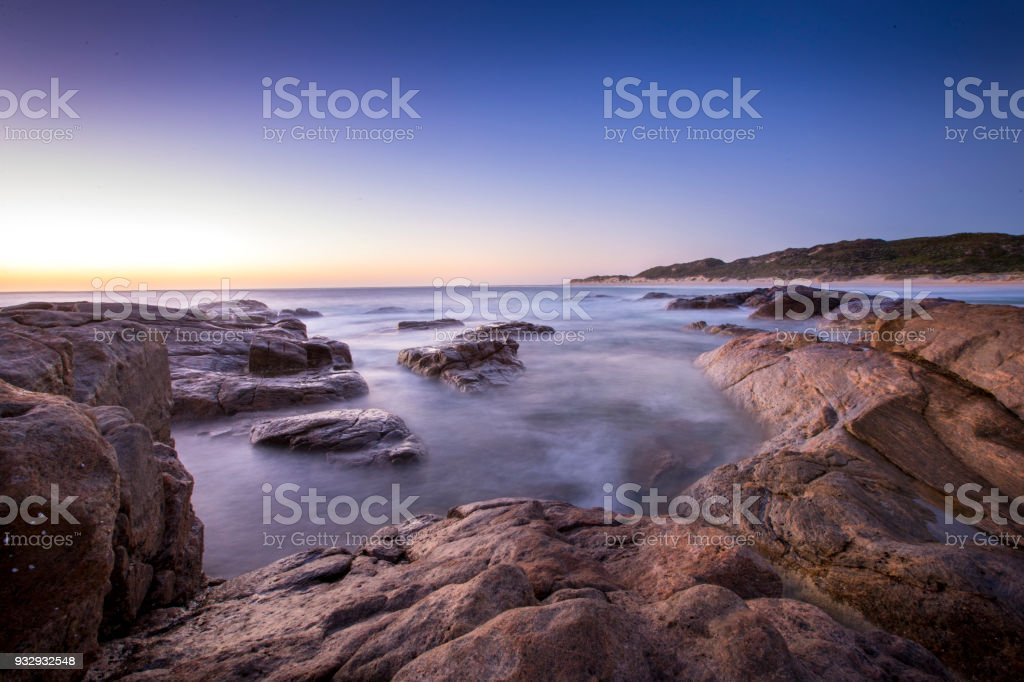 Surf's Up Sun's Down at Surfers Point Australia stock photo